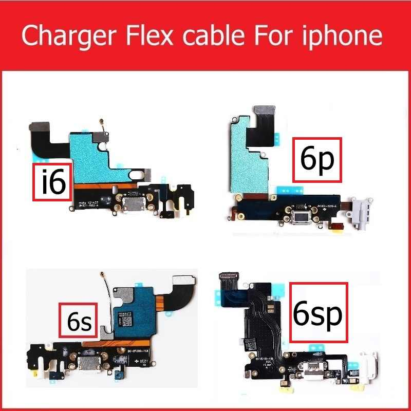 USB Charger Konektor Kabel Fleksibel untuk Iphone 6 6S Plus USB Port Pengisian Dock Konektor dengan MIC Headphone Audio jack FLEX Kabel