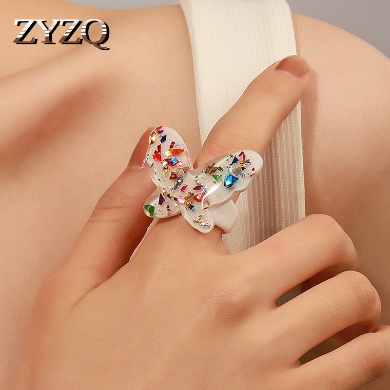 ZYZQ Shiny Elegant Colorful Sequins Butterfly Ring for Women Simple Style Candy Color Transparent Rings Jewelry Accessories 2021