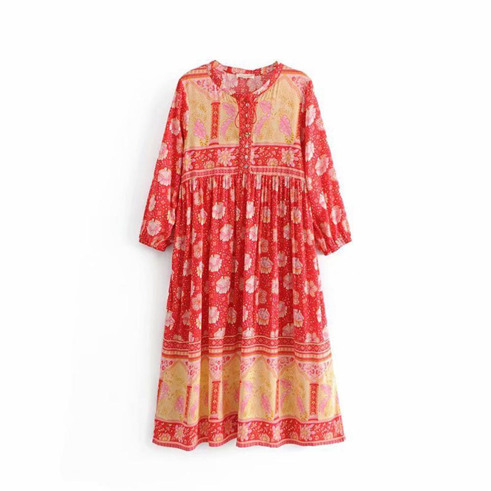 Floral Print Retro Midi Dress Women 2019 Summer Long Sleeve V neck Button-up Bell Tassel Sexy Dresses Boho Beach Party Dress