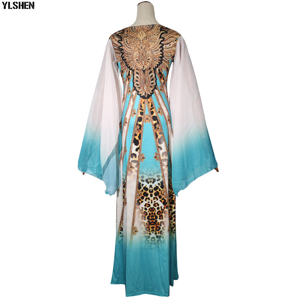 New African Dresses for Women Dashiki Print African Clothes Bazin Riche Sexy Slim Ruffle Sleeve Long Africa Maxi Dress Woman 36