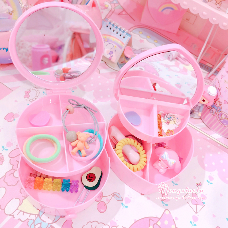 Pink Heart Round Bowknot Jewelry Box Ring Earrings Necklace Bracelet Jewelry Packaging Display Storage Box
