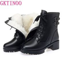 GKTINOO Ankle Boots Women Winter Shoes New 2020 Wool Warm Non-slip Ladies' Boots Genuine Leather Winter Snow Boots Large Size 42