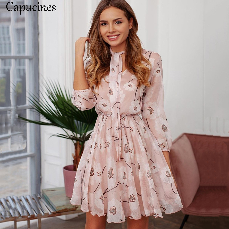 Capucines Boho Floral Print Bow Tie Neck Chiffon Summer Dress Women 3/4 Sleeve Elastic Waist Ladies Casual Vacation Mini Dresses