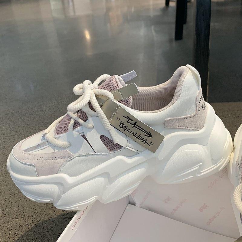2020 Autumn Women Chunky Sneakers Platform Fashion Vulcanize Shoes Ulzzang Brand Woman Mesh Casual Shoes Running Trainers Female 2