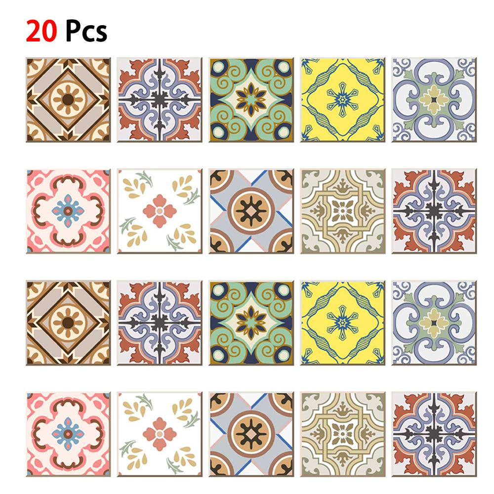 20pcs Self Adhesive PVC Diagonal Tile Floor Stickers Waist Line Wall Decals Deco