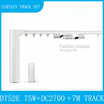 Dooya DT52E 75W Curtain Motor with DC2700 + 7M Customizable Quite Aluminum Electric Window Curtain Track Rod Rail Smart Home Set