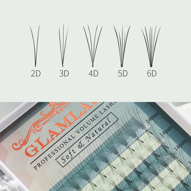 GLAMLASH Premium Premade Volume fan 2D 3D 4D 5D 6D fanned eyelash extension Russian mink lashes individual makeup tool cilios 2