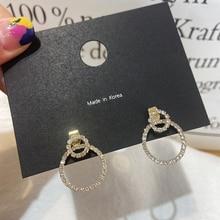 MENGJIQIAO Korean Elegant Cute Micro Paved Zircon Double Round Drop Earrings For Women Girls Fashion Pendientes Jewelry Gifts