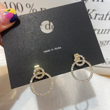 MENGJIQIAO coreano elegante lindo Micro pavimentado de doble gota Pendientes para las mujeres de moda las niñas Pendientes de botón Pendientes joyería regalos