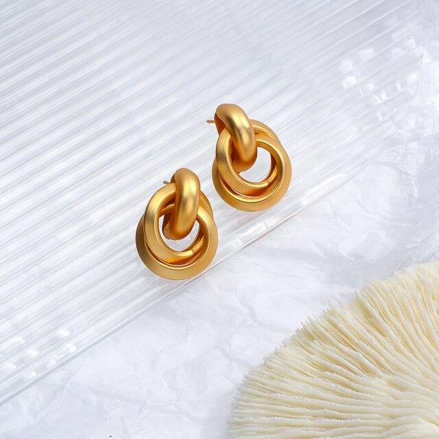 Flashbuy Gold Color Twist Alloy Drop Earrings For Women Simple Geometric Earrings Wedding Fashion Jewelry Trendy Accessories 6