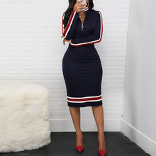 Elegant Ladies Side Striped Bodycon Dress Color Matching Stretch Office