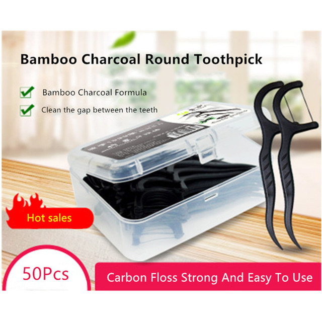 Fine bamboo charcoal wire floss dental floss stick 50 boxed bow-shaped toothpicks high-end tooth floss stick oral gift