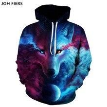 JOH FIERS Fashion Men Wolf Animal 3D Printed Hooded Hoodies / Womens Shinning Design Sweatshirts Harajuku Hoody