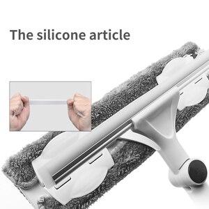 Image 3 - Двусторонний очиститель окон, телескопическая силиконовая Вращающаяся головка с длинной ручкой и тряпочным инструментом для очистки стекол