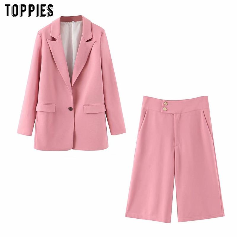 Toppies Summer Pink Suit Set Ladies Single Button Thin Blazer High Waist Knee Length Pants Women Two Piece Set