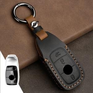 Image 1 - Leder Auto Schlüssel Fall Abdeckung für Mercedes Benz CLA180 CLS350 GLB GLA GLE GLC GLK GLS ML250 R320 S400 E Klasse C260L E260
