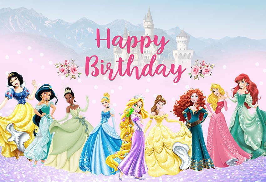 All Cartoon Disney Princess Royal Pink Photo Background