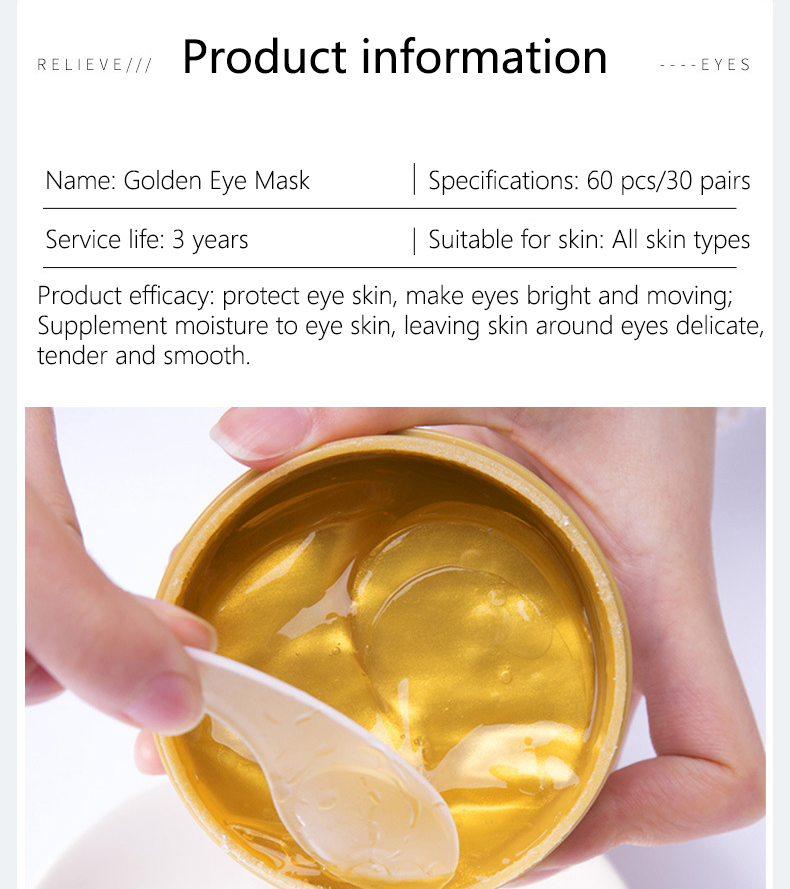60 Pieces Golden Collagen Mask Lady Natural Moisturizing Gel Eye patches Remove Dark Circles Anti Age Bag Eye Wrinkle Skin Care