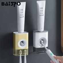 BAISPO Nuovo Pugno-Trasporto Automatico di Dentifricio Squeezer Dispenser A Parete Spazzolino Da Denti Holder Per La Casa Accessori Per il Bagno