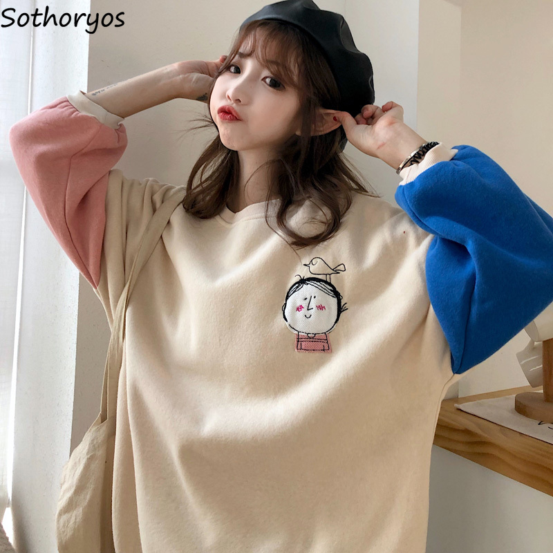 Women Hoodies Kawaii Cartoon Printed Plus Velvet Autumn Winter Patchwork Korean Style Students Chic Ins All-match Loose Leisure