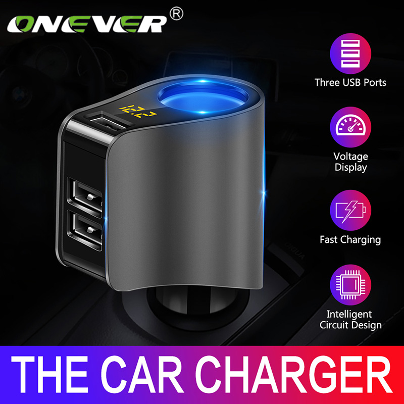 Onever Car Cigarette Lighter Socket Splitter Charger 3.1A Dual USB Car Charger Power Adapter For IPhone Samsung GPS
