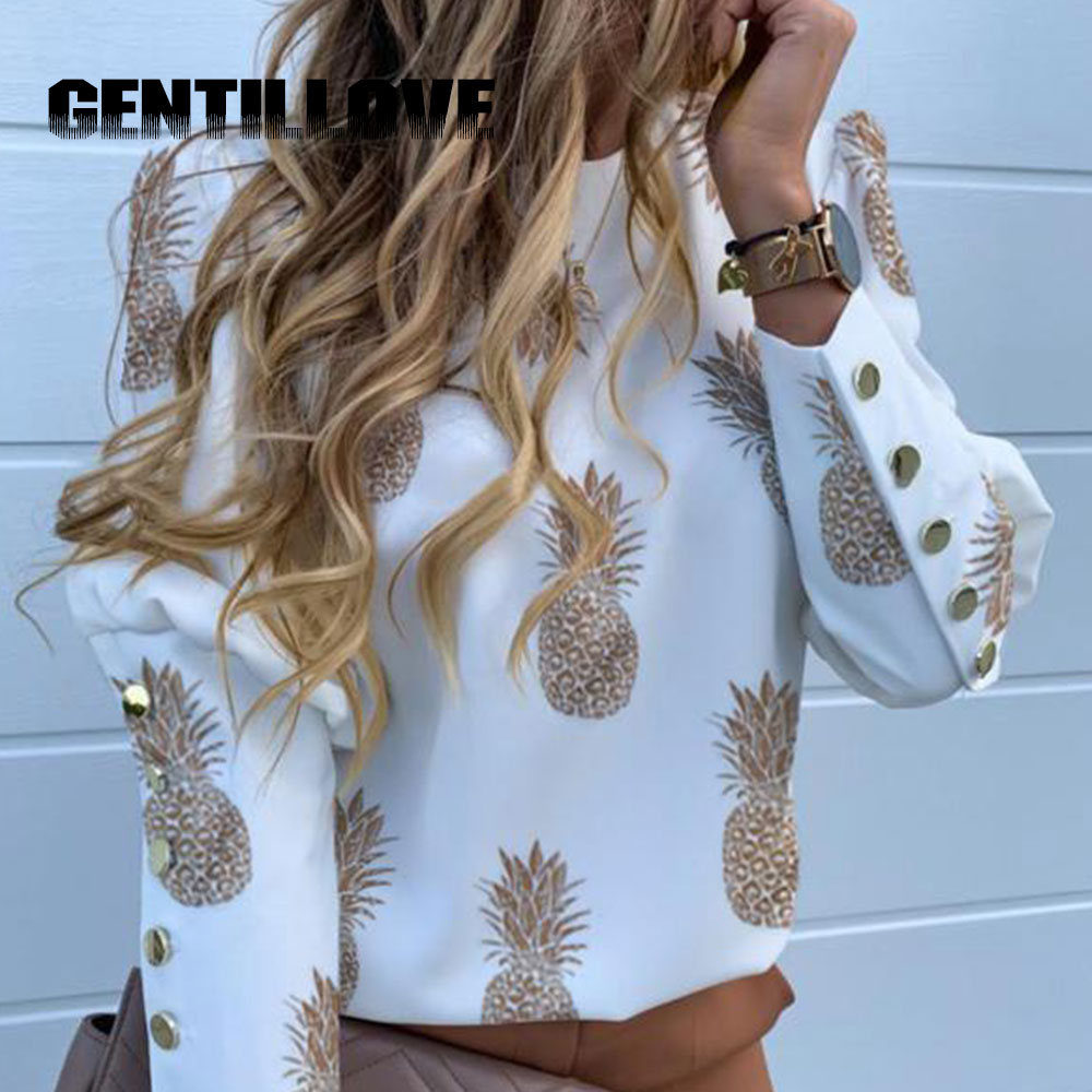 Vintage Women Puff Shoulder Blouse Office Lady Metal Button Deco Plus Size Shirt Fashion Pineapple Print Long Sleeve Tops