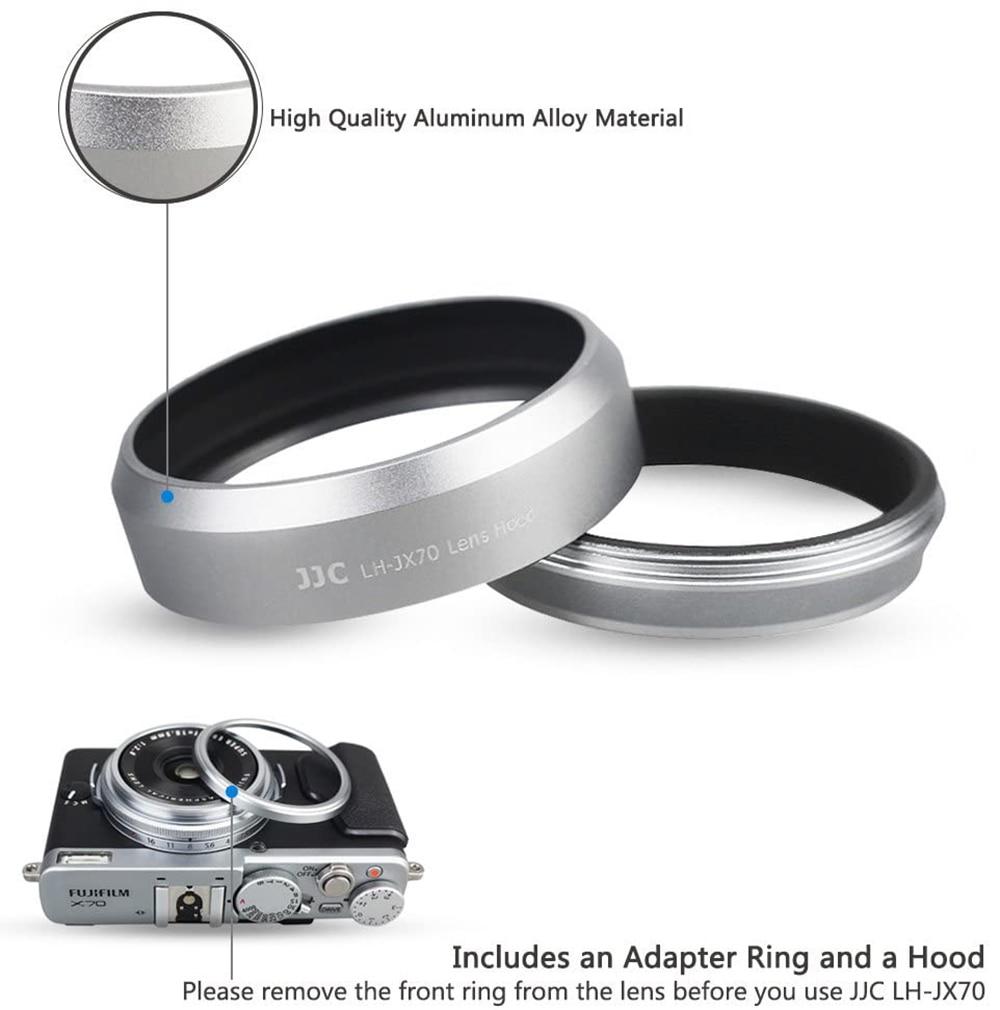 LH-JX70 Black Metal Lens Hood 49mm Filter Adapter Ring Cap Thread for Fujifilm X70 Camera Replaces Fujifilm LH-X70