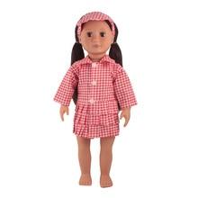 Одежда для куклы подходит для девочек 43-45 см, детская игрушка, кукла для новорожденных и американская кукла, модное платье в красную решетку ...