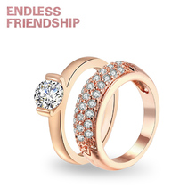 Endless Friendship Golden Fashion Ring Lover Women Men Diamond Design Couple Rings For Woman Anniversary Gift anillos mujer