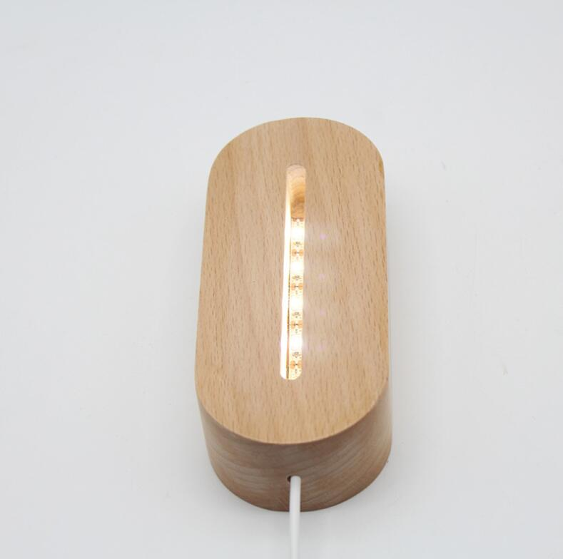 Oval Wooden Base Led Table Lamp With USB Switch Modern Night Light Acrylic 3D Led Night Lamp Holder Assembled Base