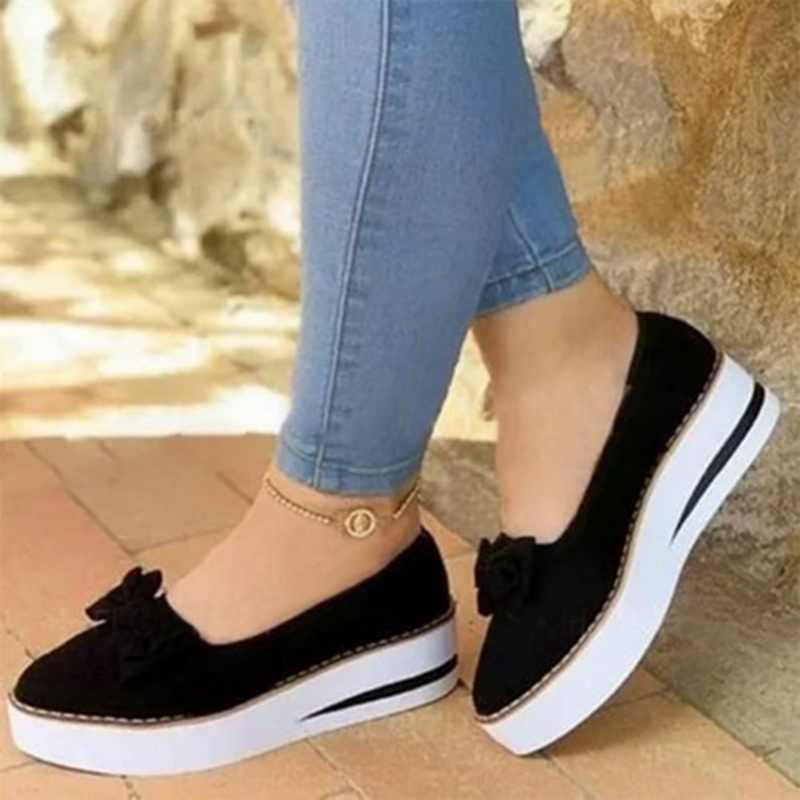 Phẳng Giày Loafer Nữ Mùa Hè Nữ Trơn Trượt Trên Nền Tảng Giày Đế Bằng Nữ May Người Phụ Nữ Thời Trang Khóa Giày 2020 Hot