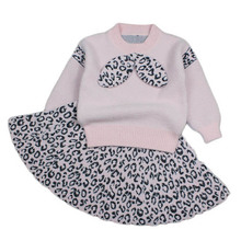 купить 2019 Autumn Children Clothing Sets Leopard mohair Pullover Sweater Set skirts 2pcs Baby Girls Suits Kids Outfits Girl knitwear дешево