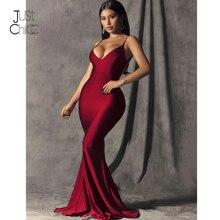 Justchicc vermelho festa de noite vestido longo feminino outono maxi vestido sexy alta divisão espaguete cinta vestido de festa de noche