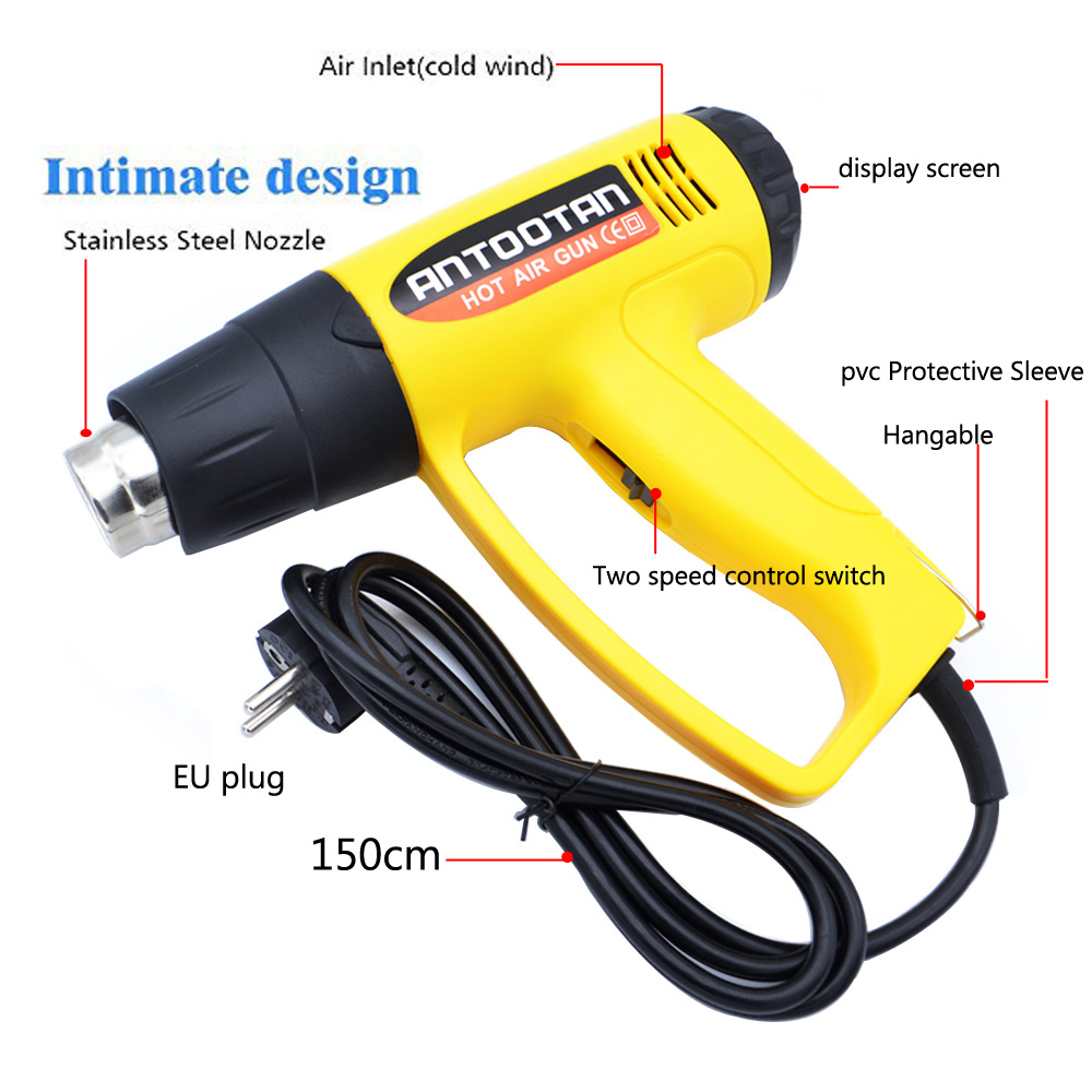 Image 4 - 220V 2000W EU Industrial Electric Hot Air Gun Thermoregulator Heat Guns LCD Display Shrink Wrapping Thermal  power tool-in Heat Guns from Tools on