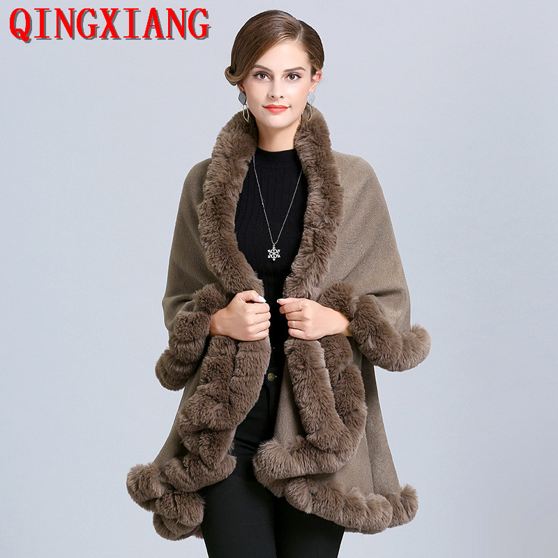 2019 Black Warm Faux Fox Fur Long Knitted 2 Layer Poncho Solid Cape Cloak Out Wear Women Front Short Back Long Cardigan Coat
