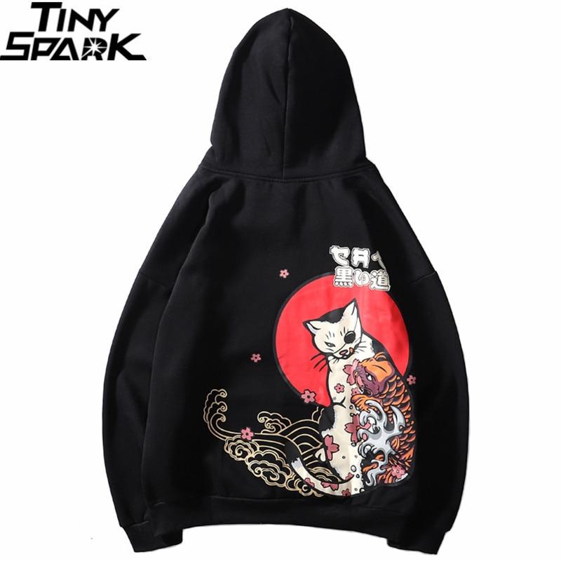 2019 Hip Hop Hoodie Sweatshirt Men Japanese Ukiyo E Cat Hoodie Harajuku Streetwear Hoodie Pullover Cotton Fleece Winter Autumn