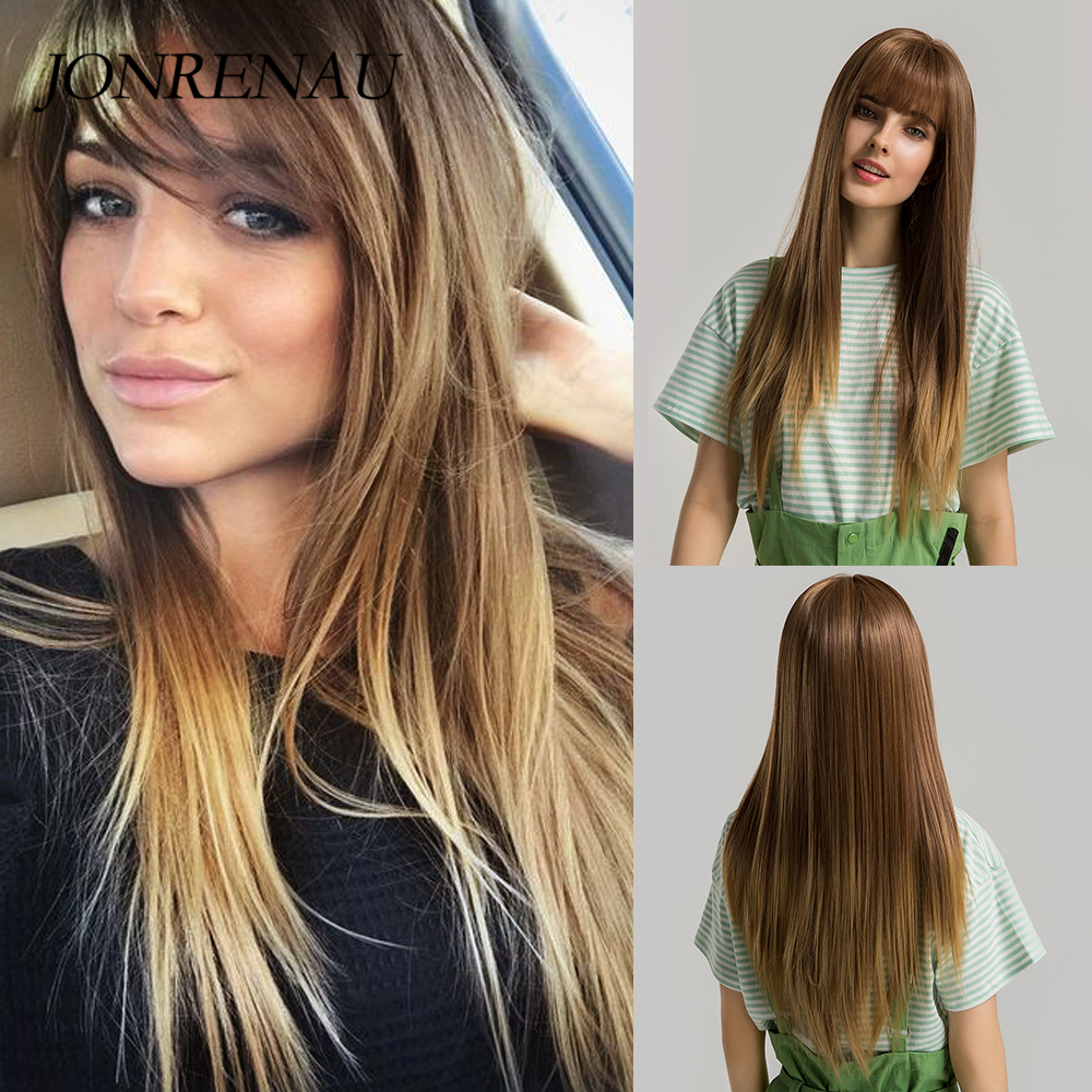 JONRENAU Women Fashion Synthetic Long Straight Brown Mixed Blonde Hair Wigs With Bangs For Black/White Women