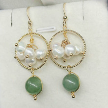 Natural Hetian Jasper Pendant 14K gold thread woven fashion pearl earrings jewelry gift