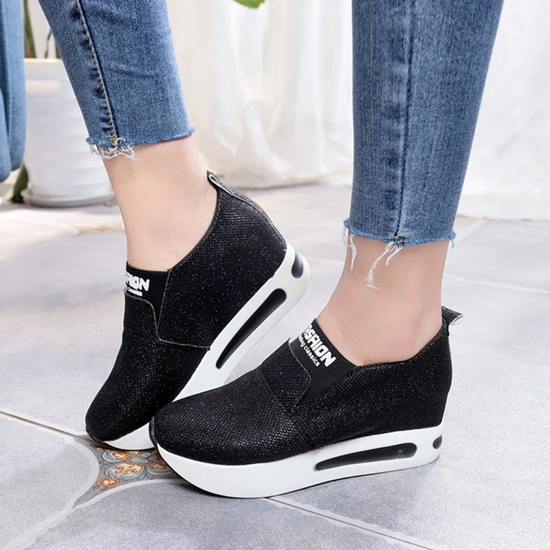 New Low-top Women's Shoes with Increased Thick-soled Sneakers Sequined Casual Shoes Platform Shoes Loafers Wedges Heighten Shoes