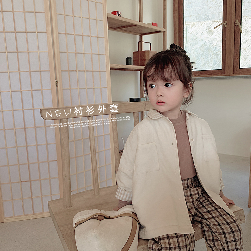 2019 autumn winter new children Korean solid color leisure   trench   coat baby girls warm lapel coat