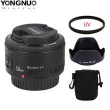Yongnuo yn 50mm f1.8 grande abertura lente de foco automático para canon ef montagem eos camer + lente saco capa lente ES-62II + 52mm filtro uv