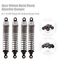 4 sztuk części do zdalnie sterowanego samochodu 100mm metalowy amortyzator dla 1/10 Traxxas HSP Redcat RC samochód Off road monster truck części do zdalnie sterowanego samochodu|Części i akcesoria|   -