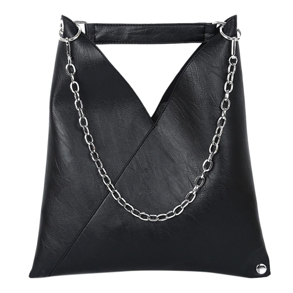 Bolsos negros mujer de marca famosa 2019 mujeres 2019 nuevo bolso Simple Retro cadena bandolera moda bolso de hombro # t3G