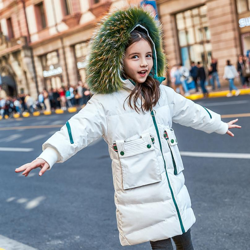 Wholesale Winter fashion brand children down coat real fur collar thicker warm girl duck down jackets Modis kids Outerwear Y2340