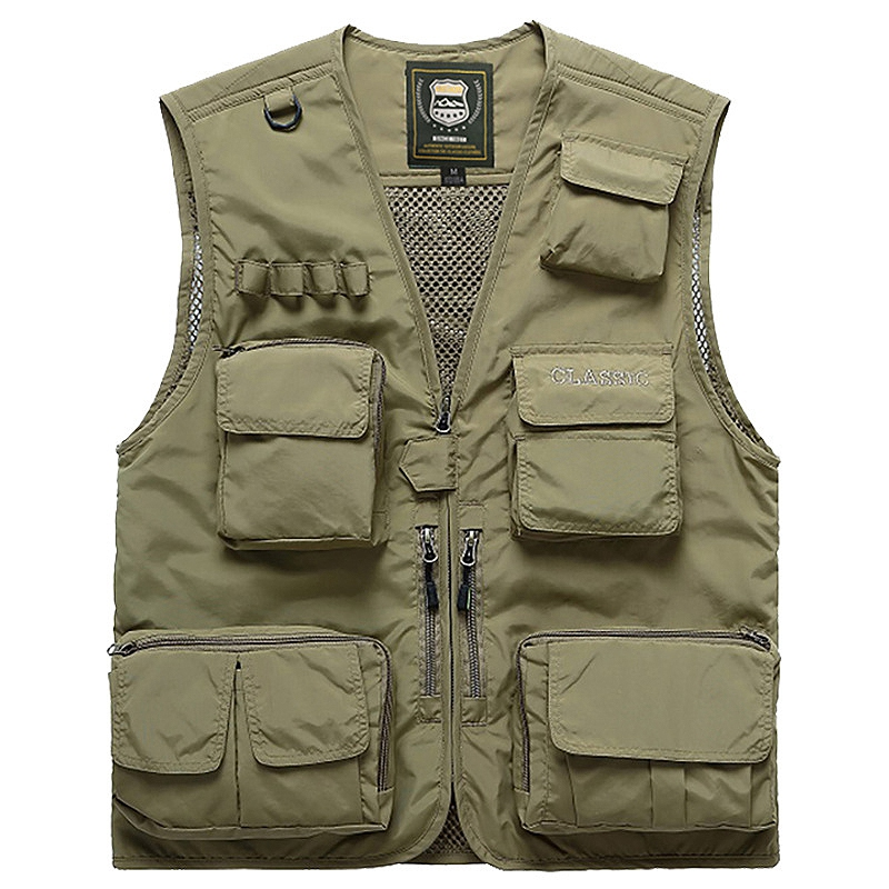 Men Multifunction Quick Dry Fishing Vest Mesh Loose Jacket Outdoor Multipockets Photography Fisherman Waist Coat,Khaki