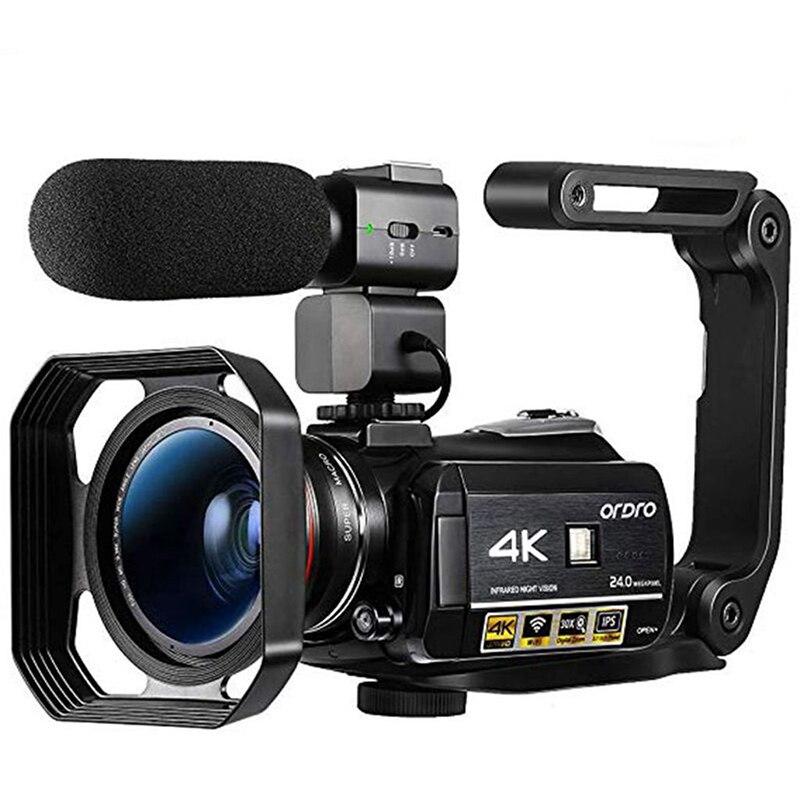 Ordro AC3 4K Camcorder Wi-fi Câmera de Vídeo (1080P 60FPS, 30X Zoom Digital, 3.1 Polegada IPS Tela de Toque, Visão Noturna Infravermelha)-Preto