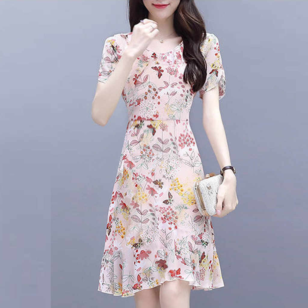 Printed A-line Dress Fashion Casual Dress Women O-Neck Dress Short sleeve Dress vintage casual dress summer dress#y40
