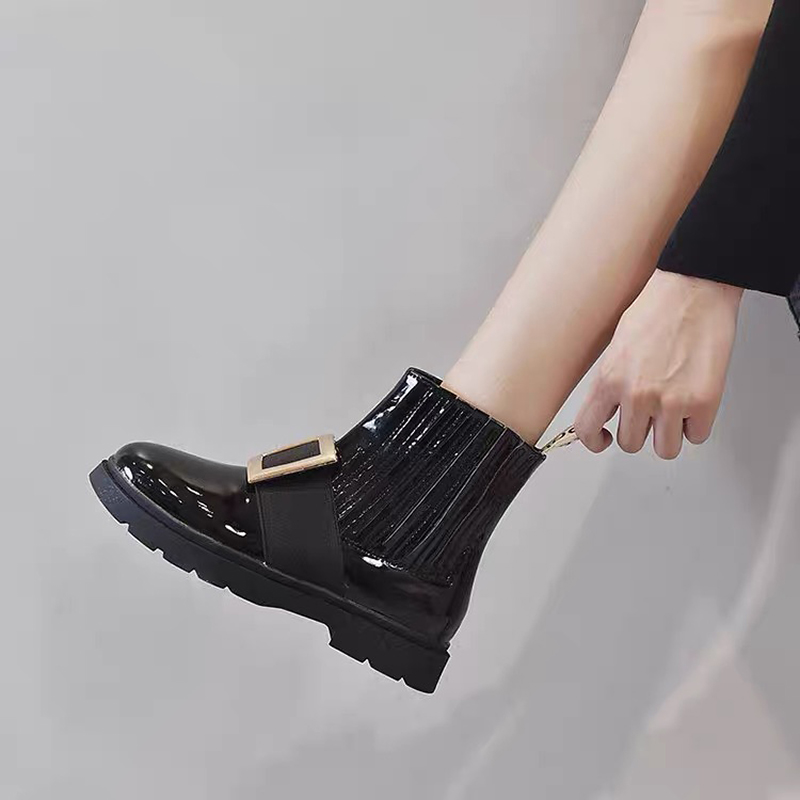 Women's short boots patent leather rhinestone square buckle short Martin boots trafa all-match stretch flat female Chelsea boots