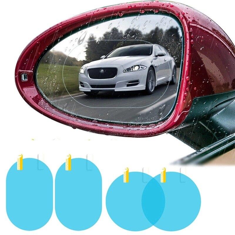 2 pçs filme de espelho do carro à prova dwaterproof água antinebulização filme retrovisor espelho resistente à água máscara de água espelho retrovisor água chuva filme