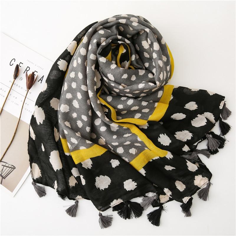 Ladies Fashion Leopard Dot Tassel Viscose Shawl Scarf Autumn Winter Thick Pashmina Stole Bufandas Muslim Hijab Sjaal 180*100Cm